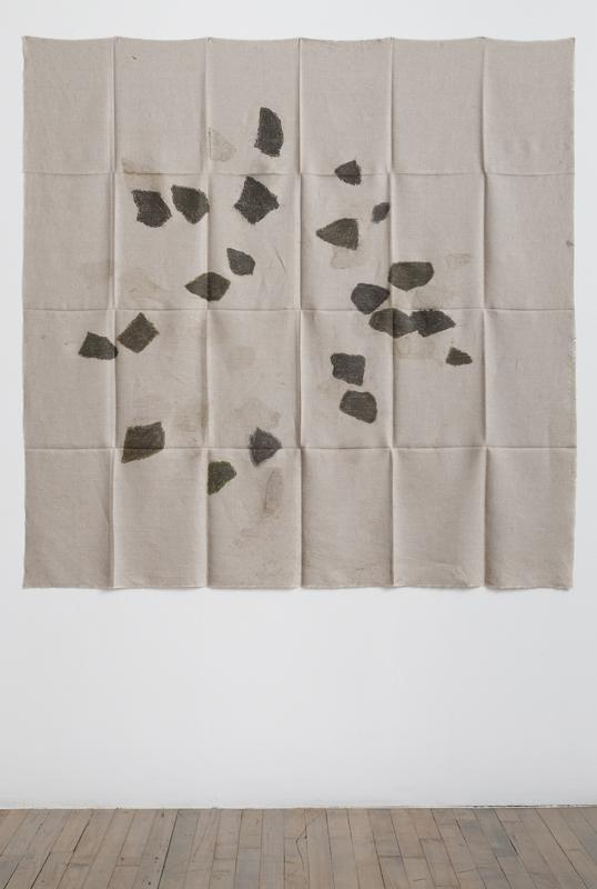 Helen Mirra<br />Hourly directional field notation, 31 August, 6 & 8 September<br />2011<br />oil and graphite on linen<br />155 x 155 cm<br />