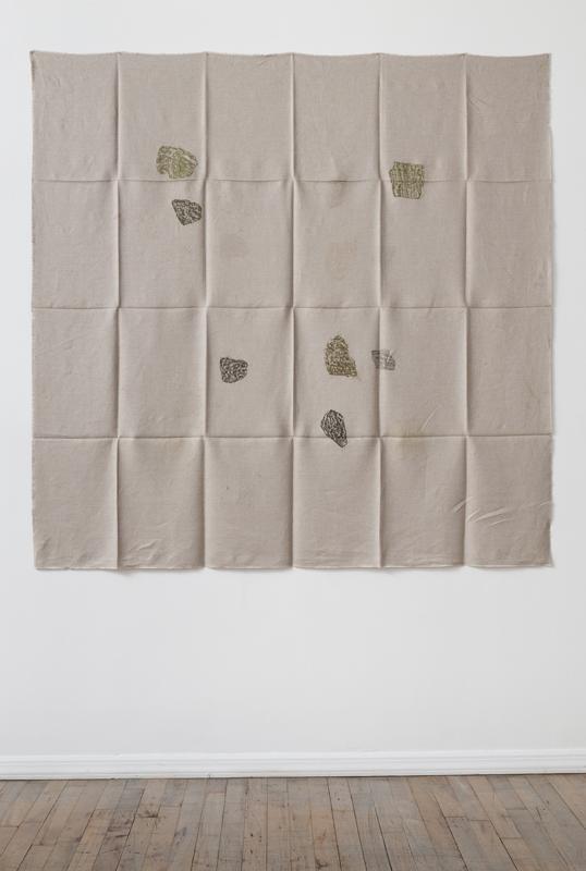 Helen Mirra<br />Hourly directional field notation, 24 August, Bogesundslandet<br />2011<br />oil and graphite on linen<br />155 x 155 cm<br />