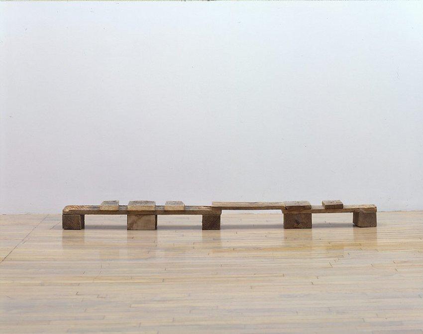 Helen Mirra<br />Bartók<br />2006<br />pallet wood<br />4 5/8 x 62 7/16 x 6 1/8 inches<br /> (13 x 159 x 16cm)<br />