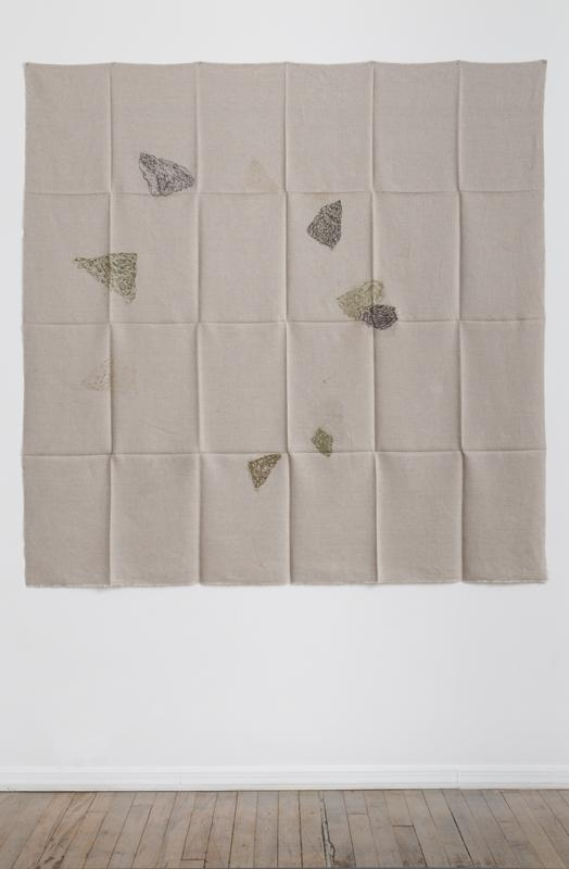 Helen Mirra<br />Hourly directional field notation, 17 August, Handen<br />2011<br />oil and graphite on linen<br />155 x 155 cm<br />