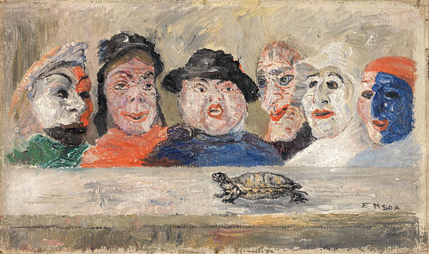 JAMES ENSOR  (1860 - 1949)<br /><i>Masques regardant une tortue</i> (Masks Watching a Tortoise)<br />1894<br />oil on canvas mounted on wood panel	<br />8 1/4 x 14 3/8 inches (22.5 x 36.5 cm)<br />