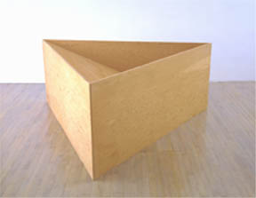 DONALD JUDD  (1928 - 1994)<br /><i>Untitled</i><br />1976<br />3/4-inch Douglas fir plywood<br />36 x 91 3/4 x 84 1/2 inches (91.5 x 233 x 214.6 cm)<br /><br />note: this is the only indoor triangular work in Judd's œuvre.<br />