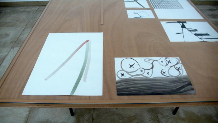 Silvia Bächli<br />Instalation, auslegen, 4 tables with 43 drawings, 2008 - 2009 <br />La Biennale di Venezia 09<br />Swiss Pavilion, Giardini<br />