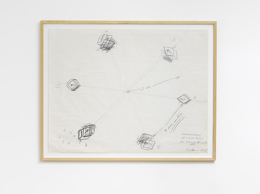 BRUCE NAUMAN<br /><i>Diamond Mind Circle of Tears Fallen All Around Me</i><br />1975<br />graphite on paper<br />34 x 44 inches (86.4 x 111.8 cm)<br />