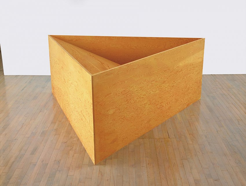 DONALD JUDD<br />Untitled<br />1976<br />plywood<br />36 x 91-3/4 x 84-1/2 inches (91.44 x 233 x 214.6 cm)<br />