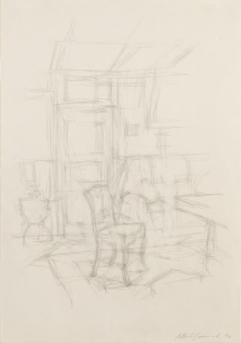 ALBERTO GIACOMETTI  (1901-1966)<br /><i>Intérieur avec chaise</i> (Stampa)<br />1954<br />graphite on paper<br />22 7/8 x 16 1/8 inches (58 X 41 cm)<br />