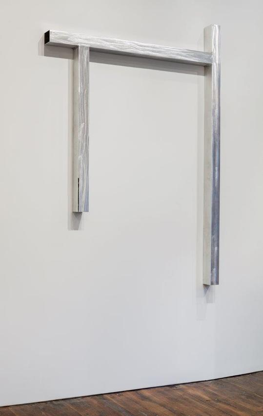 Pedro Cabrita Reis<br /><br />Door (with a cut)<br />2014<br />grinded and welded aluminum tubing<br />96 1/4 x 71 x 4 inches<br />(244.5 x 180 x 10 cm)<br />PF3357<br />