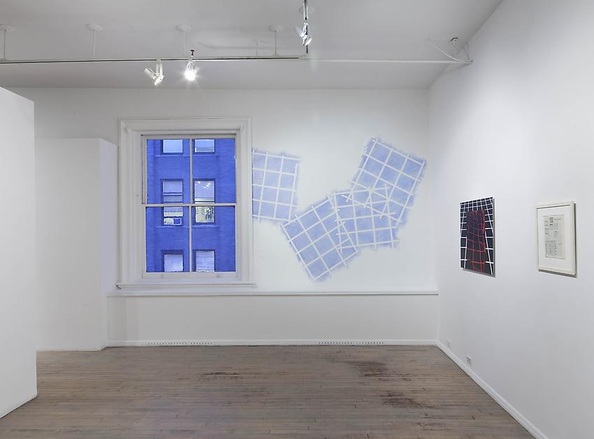Mel Bochner<br />Superimposed Grids<br />1968<br />blue powder pigment on wall<br />dimensions variable<br />PF2190<br />