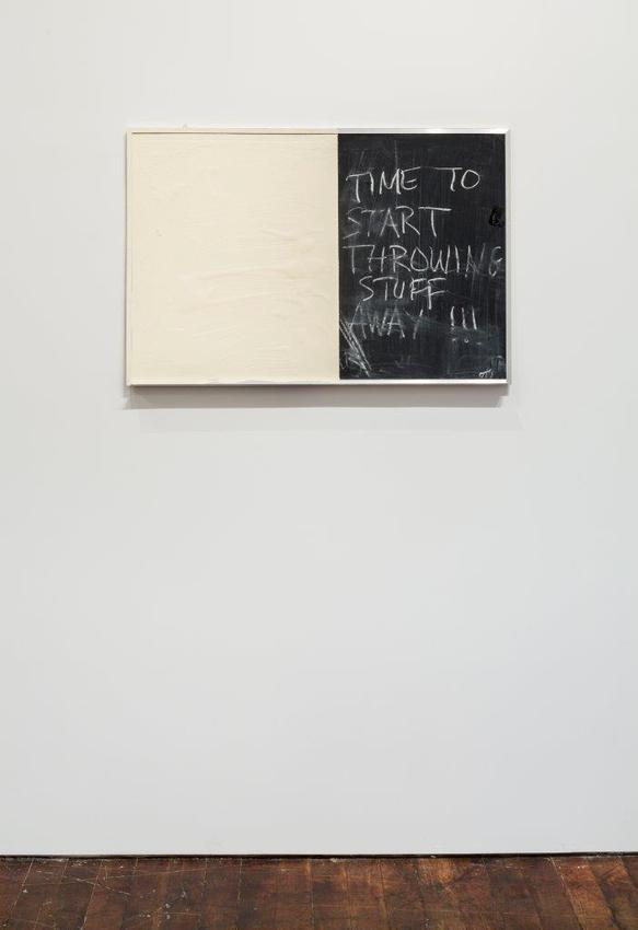Pedro Cabrita Reis<br /><br />Time To Start Throwing Stuff Away<br />2014<br />enamel on found blackboard<br />24 x 36 x 1 1/8 inches<br />(61 x 91.5 x 3 cm)<br />PF3367 NFS<br />
