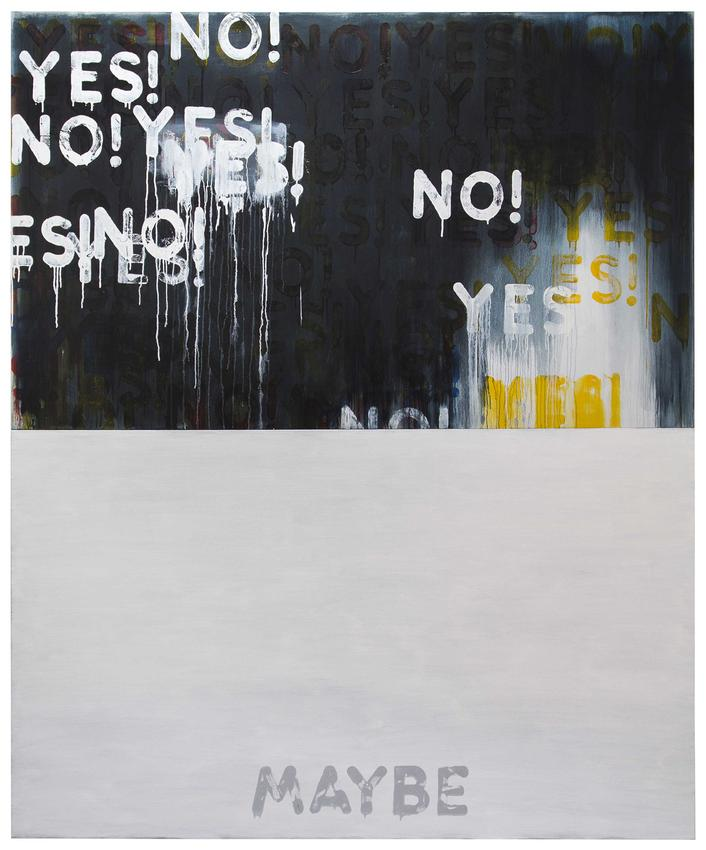 <i>Yes!/No! Maybe</i><br />2016<br />oil on canvas, in two parts<br />each: 48 1/8 x 80 1/8 inches (122.2 x 203.5 cm)<br />overall: 96 1/4 x 80 1/8 inches (244.5 x 203.5 cm)<br />PF4339<br />