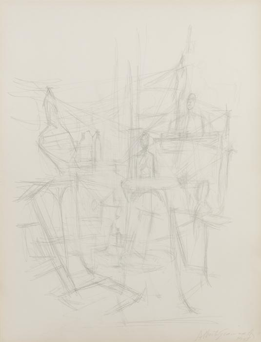 ALBERTO GIACOMETTI  (1901-1966)<br /><i>Intérieur à Stampa</i><br />c. 1960-65<br />graphite on paper<br />19 5/8 x 12 5/8 inches (50 x 32 cm)<br />