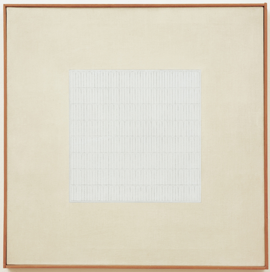AGNES MARTIN  (1912 - 2004)<br /><i>Song </i><br />1962 <br />graphite and oil on canvas<br />23 3/4 x 23 3/4 inches (60.3 x 60.3 cm)<br />