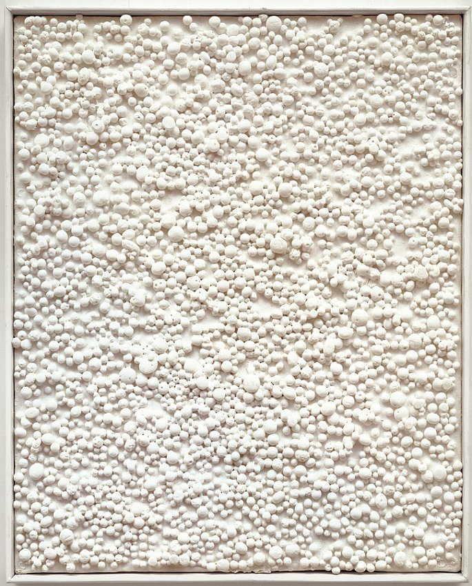 PIERO MANZONI<br />	Achrome<br />	1963<br />	kaolin on polystyrene beads on canvas in artist's frame <br />	12-1/8 x 9-3/4 inches (30.8 x 24.76 cm)<br />