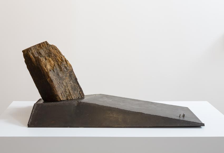 MARK DI SUVERO<br /><br /><i>Bachpiece</i><br />1962<br />wood and steel<br />22 1/2 x 52 x 26 inches<br />  (57.2 x 132.1 x 66 cm)<br /><br />Courtesy the artist and Paula Cooper Gallery, New York<br />