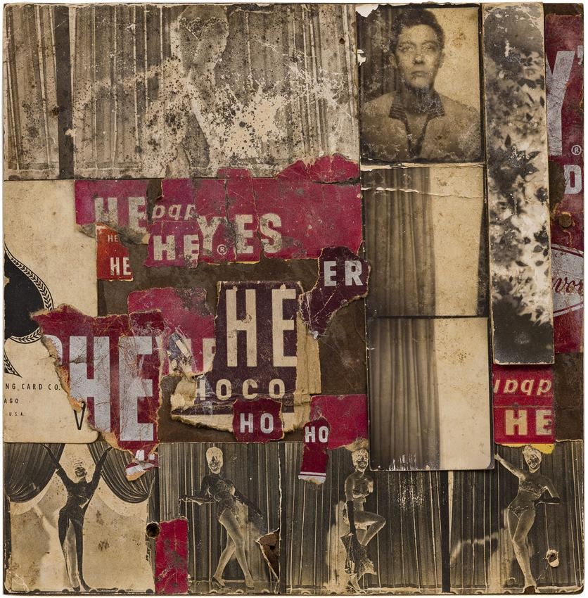 AL HANSEN (1927 – 1995)<br /><br /><i>Untitled (Dick Bellamy)</i><br />c. 1963<br />Hershey wrappers and photographs on panel<br />7 1/2 x 7 1/2 inches<br />  (19.1 x 19.1 cm)<br /><br />Private collection, New York<br />