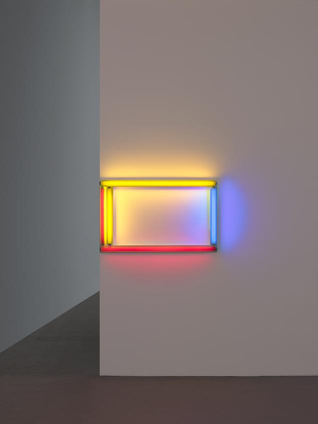 DAN FLAVIN (1933 – 1996)<br /><br /><i>a primary picture</i> <br />1964<br />red, yellow, and blue fluorescent lights, in five parts<br />24 x 48 inches<br />  (61 x 122 cm)<br /><br />Courtesy Stephen Flavin<br />