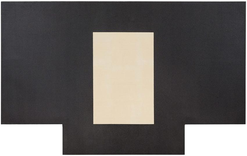 MICHAEL HEIZER <br /><br /><i>F.A.X.</i><br />1967<br />polyvinyl latex on canvas<br />75 1/16 x 120 x 1 1/8 inches<br />  (190.7 x 304.8 x 2.9 cm)<br /><br />Private collection, New York<br />