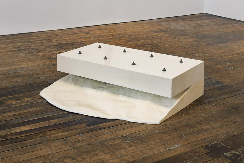 GARY KUEHN<br /><br /><i>Welfare Combination</i><br />1966<br />fiberglass, wood, enamel, and steel bolts<br />48 x 37 x 14 inches<br />  (121.9 x 94 x 35.6 cm)<br /><br />Courtesy the artist<br />
