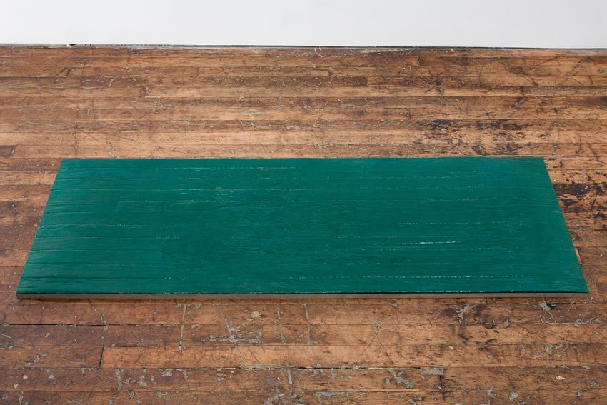 Alex Hay<br /><br />Untitled (Green plank)<br />1966<br />colored casting resin in aluminum frame<br />1 1/4 x 74 7/8 x 27 1/16 inches<br />(3.2 x 190.2 x 68.7 cm)<br />PF3930<br />