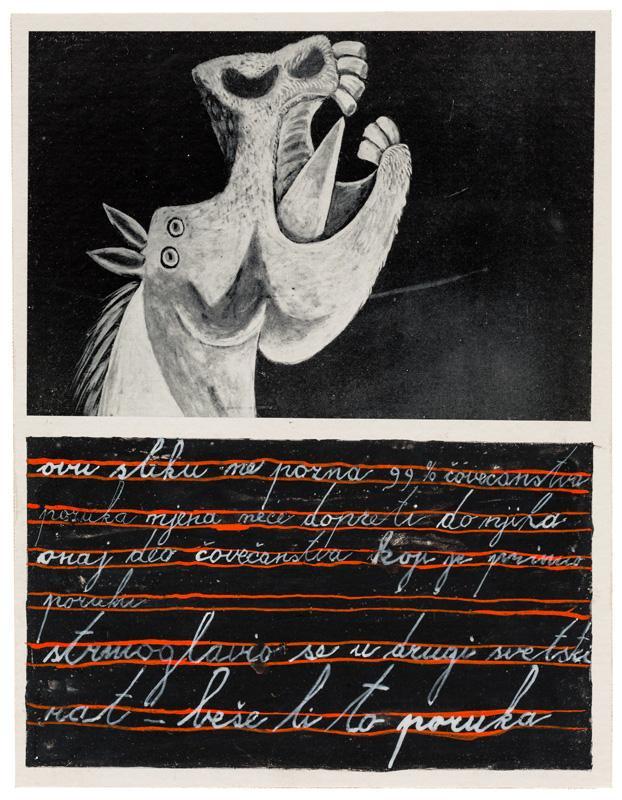 Dimitrije Bašičević Mangelos (1921-1987)<br /><br />Ovu sliku ne pozna 99% čovečanstva... [99% of mankind has not heard of this painting...]<br />c. 1967-1972<br />tempera and collage on paper<br />7 7/8 x 6 1/8 inches<br />(20 x 15.5 cm)<br />PF4066<br />