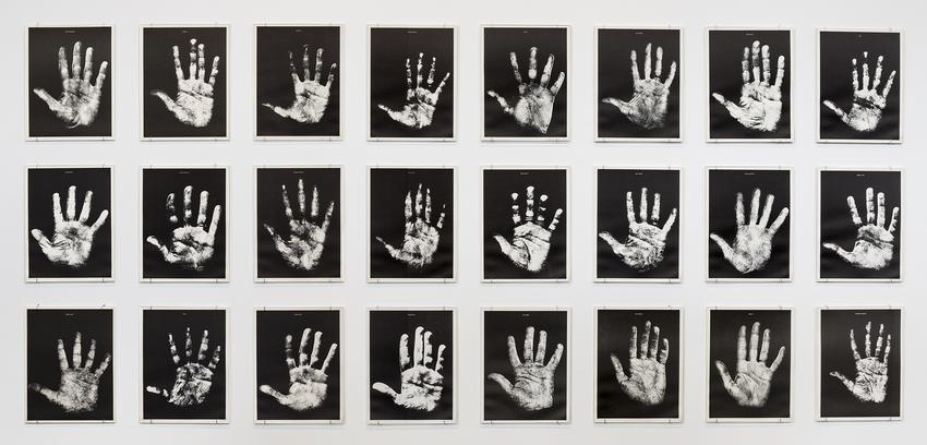 <i>Hand Show </i> (In collaboration with Scott Hyde)<br /><br />1967<br />24 black and white silkscreen prints in a wooden box with a printed plexiglass slide lid<br />box: 11 7/8 x 9 1/2 x 1 1/2 inches<br />   (30.1 x 24.1 x 4 cm)<br />paper: 11 1/8 x 8 5/8 inches<br />   (28.3 x 21.9 cm)<br />Edition 98 of 150<br />Published by SABA-Studio, Brunner Schwer, Villingen, Germany<br />PF4905<br />