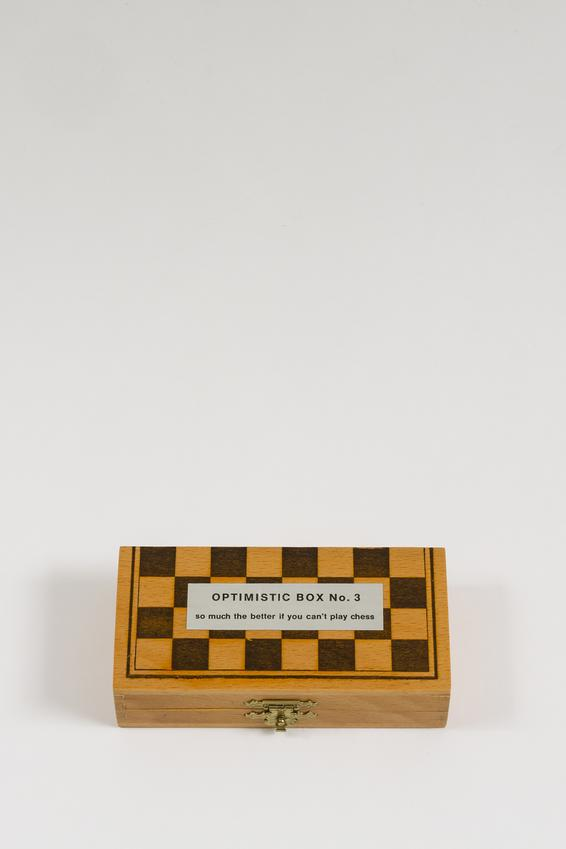<i>Optimistic boxes n°1, n°2, n°3, n°4 and n°5</i><br /><br />(detail) <i>Optimistic box n°3</i><br /><br />1968-1981<br />wood, metal, stone, glued printed paper and photograph, and glazed porcelain<br />n°3: 2 5/8 x 4 3/4 x 1 1/8 inches<br />   (6.7 x 12.1 x 2.9 cm)<br />Unlimited Edition<br />Published by VICE-Versand, Wolfgang Feelisch,<br />   Remscheid, Germany<br />PF4903<br />