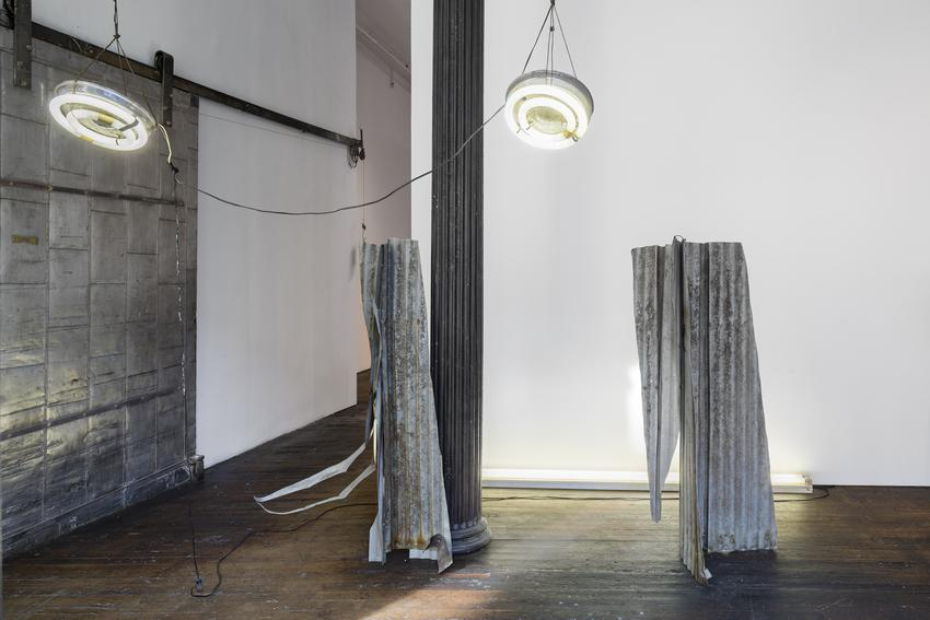 NEIL JENNEY<br /><br /><i>The Richard Bellamy Piece</i><br />1968<br />corrugated tin sheeting, fluorescent fixtures<br />dimensions variable<br />approx. 132 x 204 x 156 inches<br />  (335.3 x 518.2 x 396.2 cm)<br /><br />Courtesy the artist<br />