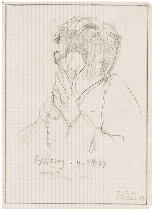 SIDNEY TILLIM (1925 – 2001)<br /><br /><i>Birthday Portrait</i><br />1969<br />graphite on graph paper<br />8 1/8 x 5 7/8 inches<br />  (20.6 x 14.9 cm) <br /><br />Private collection, New York<br />