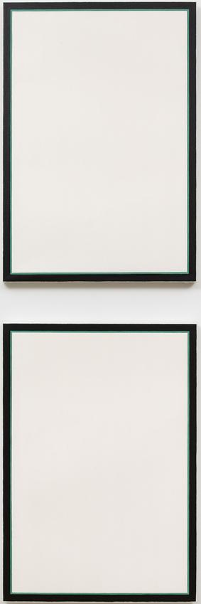 JO BAER<br /><br /><i>Untitled (Stacked Vertical Diptych - Green)</i><br />1970<br />oil on canvas, in two parts<br />each: 36 x 25 inches <br />  (91.4 x 63.5 cm)<br /><br />Private collection, New York<br />