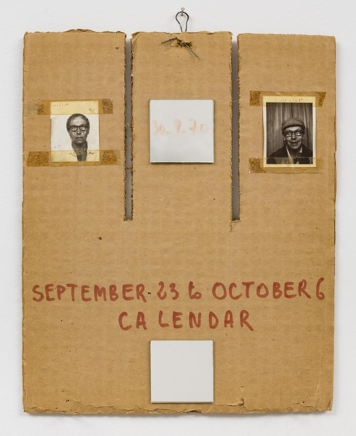 <i>Calendar</i><br /><br />1970<br />photographs, mirrors, and ink on cardboard with iron wire<br />12 3/4 x 9 7/8 x 1 1/2 inches<br />  (32.4 x 25.1 x 3.8 cm)<br />