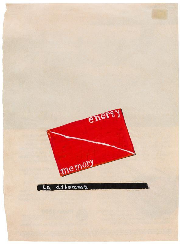 Dimitrije Bašičević Mangelos (1921-1987)<br /><br />Energy memory la dilemma<br />m. 8 (1971-1977)<br />tempera on paper<br />11 x 8 1/8 inches<br />(27.9 x 20.6 cm)<br />PF2277<br />