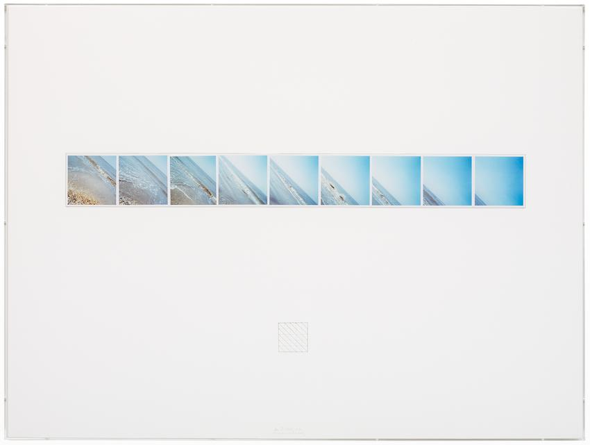 Jan Dibbets<br /><br /><i>Sea 45°</i><br />1971<br />nine color photographs mounted on mat board with graphite<br />29 9/16 x 39 3/8 inches<br />(75 x 100 cm)<br />PF3776<br />