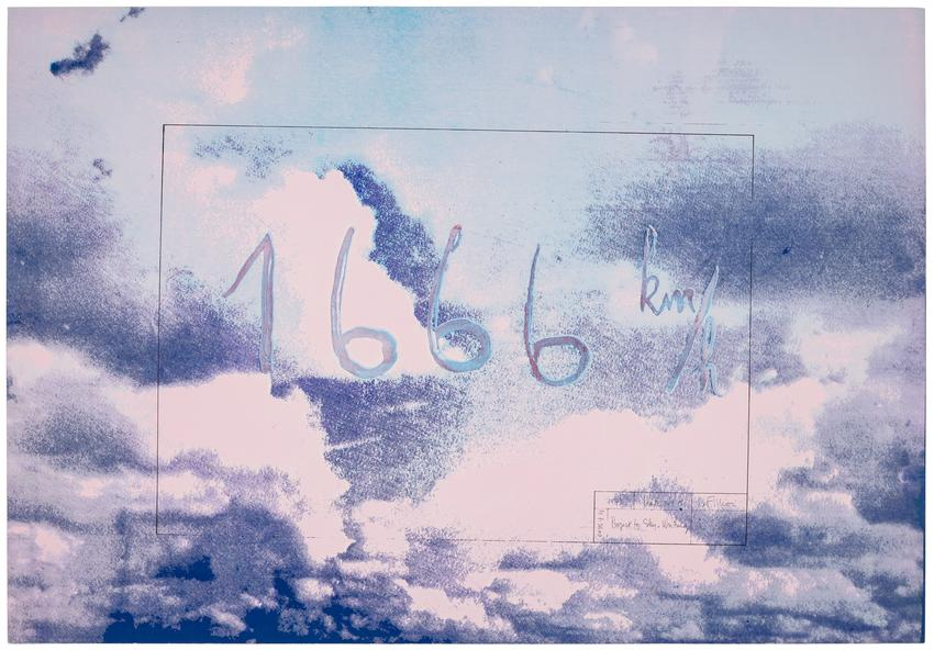<i>Projects for Sky-Writing (no. 1)</i><br /><br />1971<br />color silkscreen on paper<br />24 1/2 x 35 1/4 inches<br />  (62.2 x 89.5 cm)<br />Edition 3 of 10 + AP<br />Published by Hartmut Kaminski, Düsseldorf, Germany<br />PF4915<br />