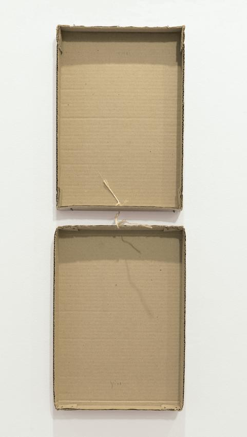 <i>Not so Empty Box with String</i><br /><br />c. 1973<br />glued paper, soft lead pencil on cardboard and twine,<br />   in two parts<br />closed: 13 5/8 x 9 3/8 x 1 3/4 inches<br />   (34.6 x 23.8 x 4.4 cm)<br />overall: 27 1/4 x 9 3/8 x 1 1/2 inches<br />   (69.2 x 23.8 x 3.8 cm)<br />PF4895<br />