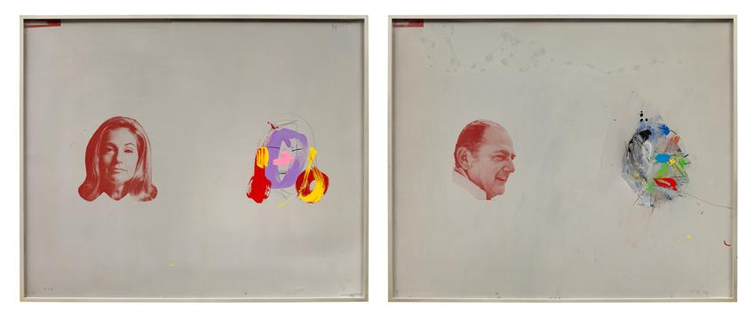MICHAEL HEIZER <br /><br /><i>Portraits of Bob and Ethel Scull</i><br />1974<br />photo offset, acrylic, crayon, spray paint, and graphite on zinc plate<br />each: 36 3/4 x 44 3/4 inches (93.3 x 113.7 cm)<br /><br />Collection of Jonathan Scull and Kathleen Benveniste, New York<br />