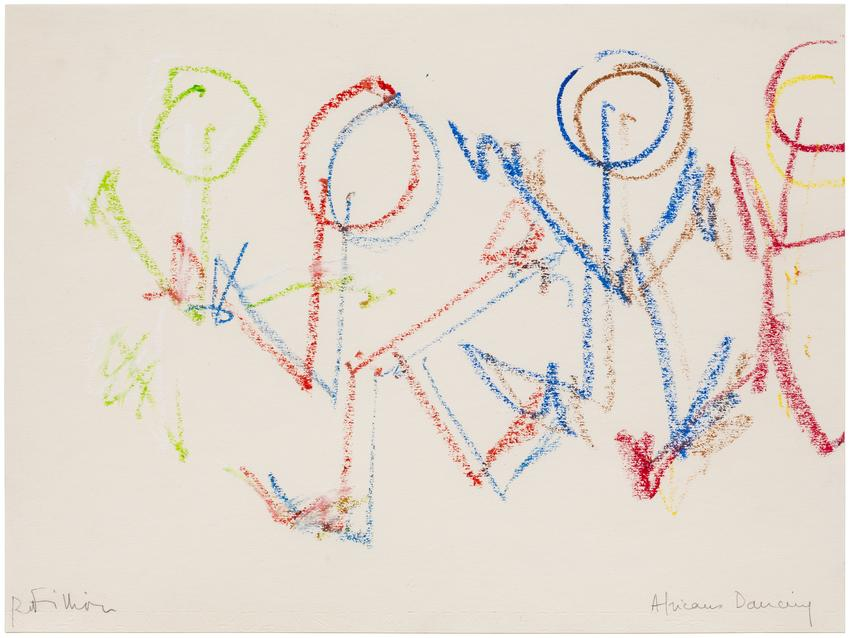 <i>Africans Dancing</i><br /><br />c. 1975<br />pastel and soft lead pencil on paper<br />9 3/8 x 12 5/8 inches<br />  (23.8 x 32.1 cm)<br />PF4885<br />