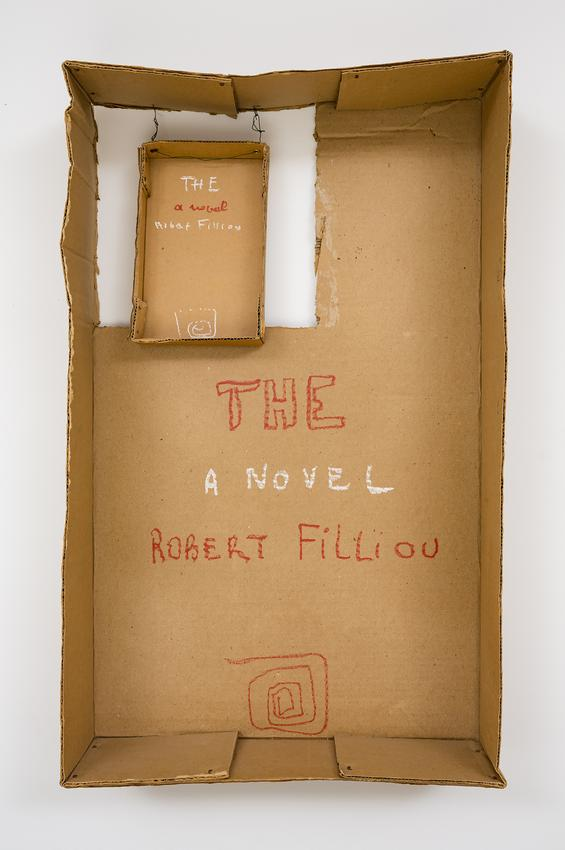 <i>THE, A Novel, Robert Filliou</i><br /><br />c. 1976<br />pastel on cardboard with wire<br />26 1/8 x 15 3/4 x 6 inches<br />  (66.4 x 40 x 15.2 cm)<br />PF4900<br />