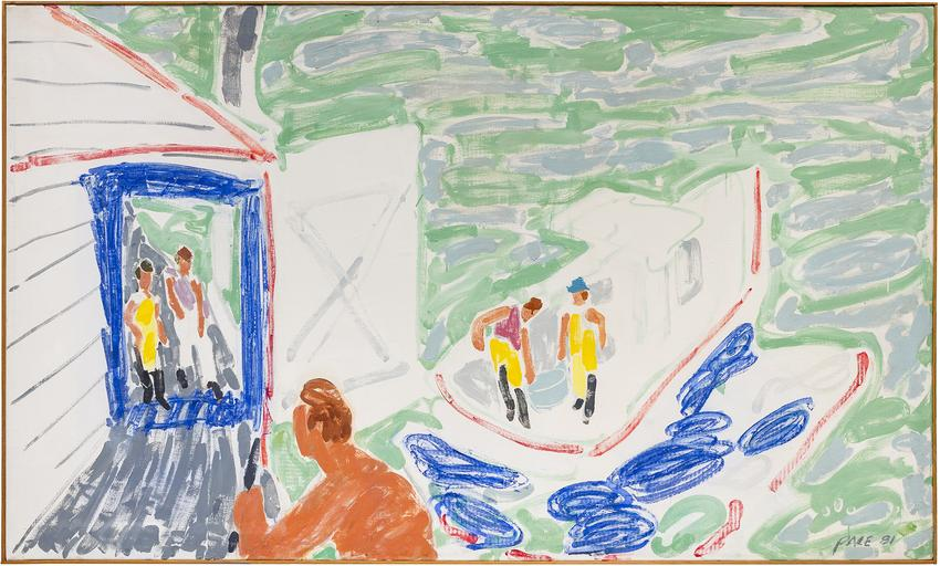 <B>Stephen Pace</B> (1918 - 2010)<br /><br /><I>Loading Bait At Co-op (81-07)</I><br />1981<br />oil on canvas<br />42 x 70 1/8 inches<br />  (106.7 x 178.1 cm)<br />PF5096<br />