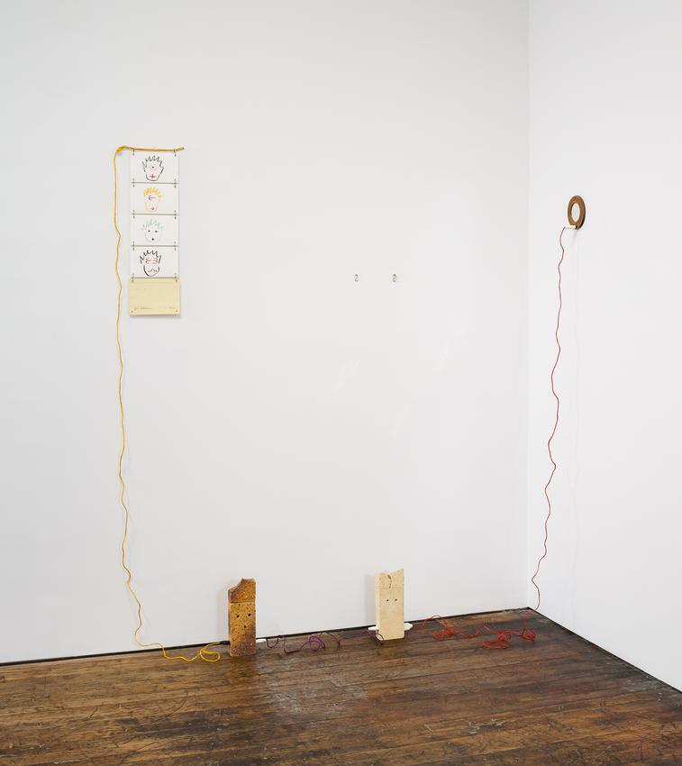 <i>3 times Mr and Mrs You</i><br /><br />1982<br />soft lead pencil and pastel on paper, two large bricks <br />   three brick pieces, wood framed mirror, colored twine,<br />   five sockets and twelve S-hooks<br />82 11/16 x 77 3/16 x 22 7/16 inches<br />  (210 x 196.1 x 57 cm)<br />PF4471<br />