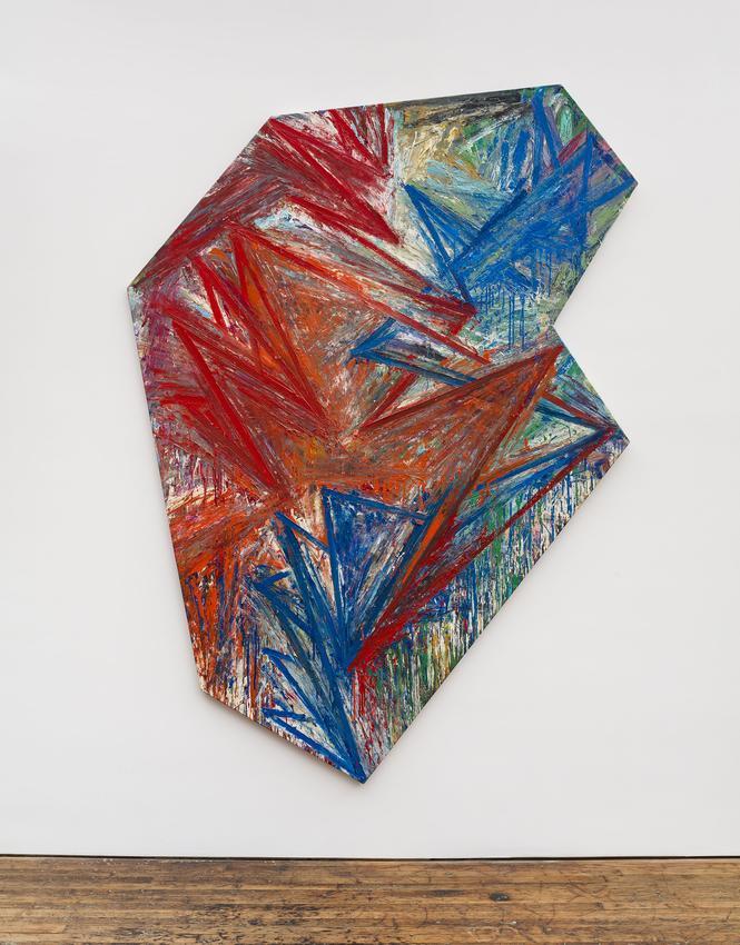 <u>Palisade</u><br />1984<br />oil on sized canvas<br />105 3/4 x 79 inches (268.6 x 200.7 cm)<br />