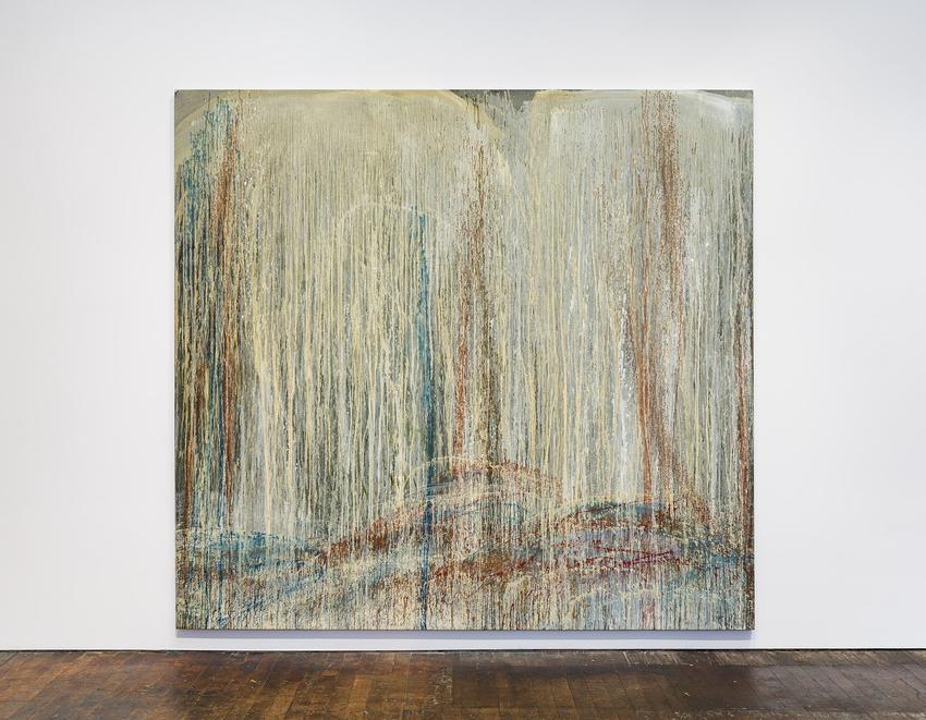 <B>Pat Steir</B><br /><br /><i>Red, Blue and Silver Waterfall</i><br />1989<br />oil on canvas<br />107 3/4 x 115 1/2 inches<br />  (273.7 x 293.4 cm)<br />PF5054<br />