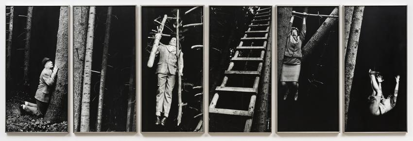<u>Gebet im Wald [Prayer in the Forest]</u><br />1990/2000<br />6 gelatin silver prints<br />each: 35 7/16 x 17 11/16 inches<br />  (90 x 44.9 cm)<br />PF4145<br />
