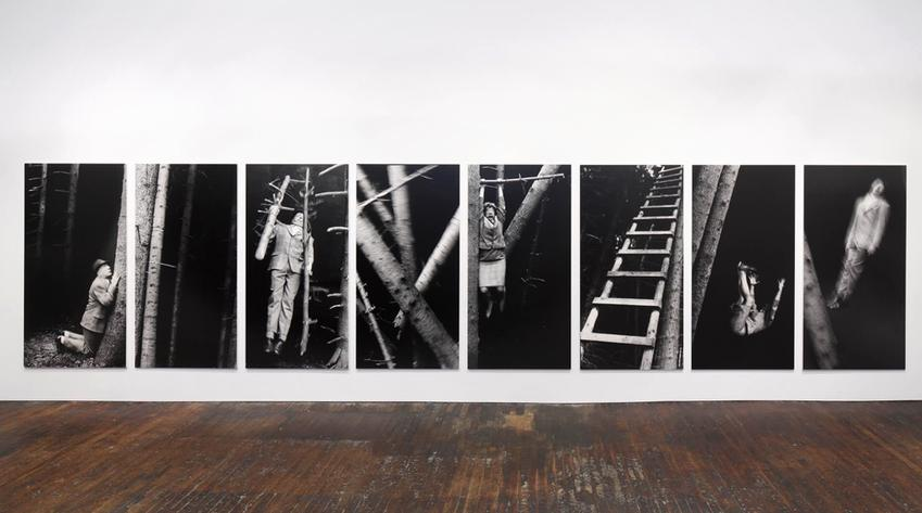 Metaphysik ist Männersache<br />1991<br />eight gelatin silver prints mounted on foam core and Plexiglas<br />each: 98 7/16 x 49 1/2 inches<br />  (250 x 126 cm)<br />PF3968<br />