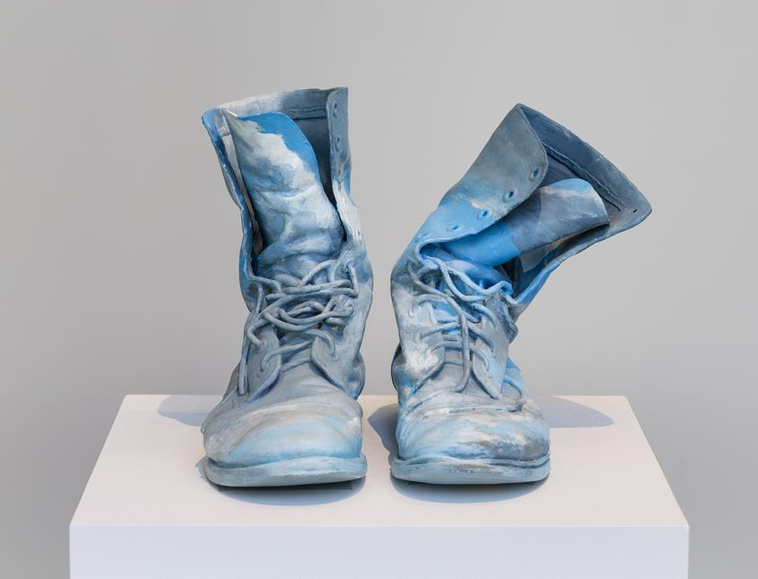 <B>Geoffrey Hendricks</B> (1931-2018)<br /><br /><I>Sky Boots (Thursday)</I><br />1992<br />painted bronze<br />12 x 12 x 8 inches<br />  (30.5 x 30.5 x 20.3 cm)<br />Edition of 7<br />PF5070<br />