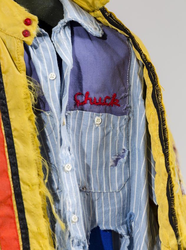 <u>Chuck</u> (detail)<br />1997<br />fabric, metal, plastic, and thread<br />22 1/2 x 12 x 4 3/4 inches (57.2 x 30.5 x 12.1 cm)<br />