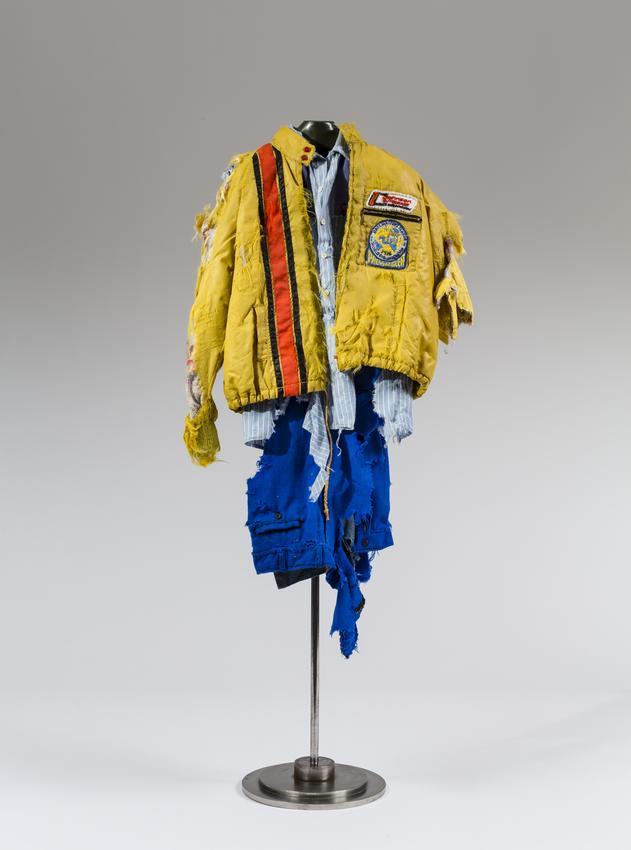 <u>Chuck</u><br />1997<br />fabric, metal, plastic, and thread<br />22 1/2 x 12 x 4 3/4 inches (57.2 x 30.5 x 12.1 cm)<br />