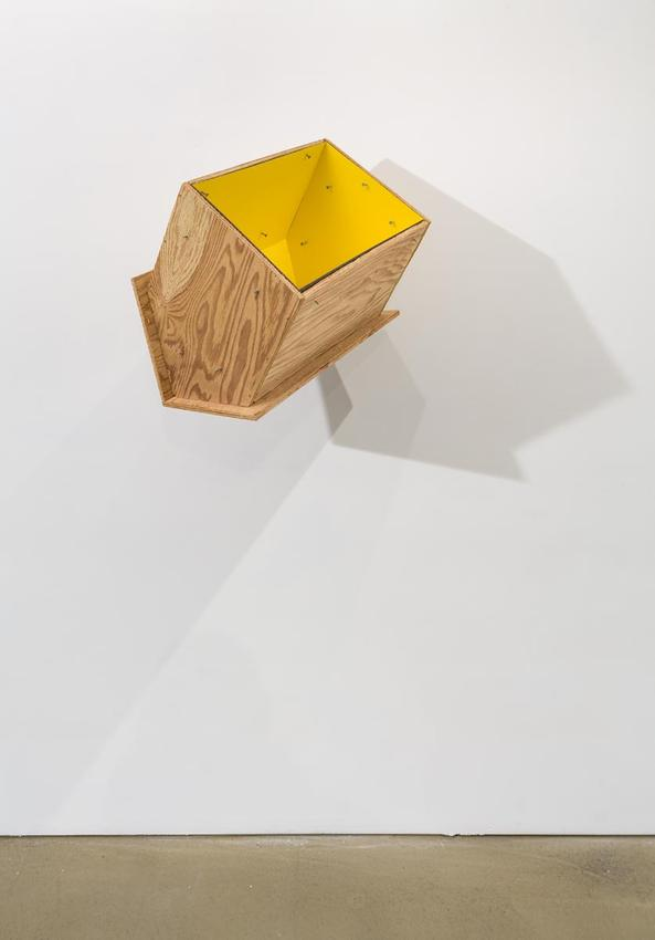 <u>Yellow Crusoe</u><br />1999<br />plywood, laminate and nails<br />16 1/8 x 18 1/8 x 12 5/8 inches (41 x 46 x 32 cm)<br />