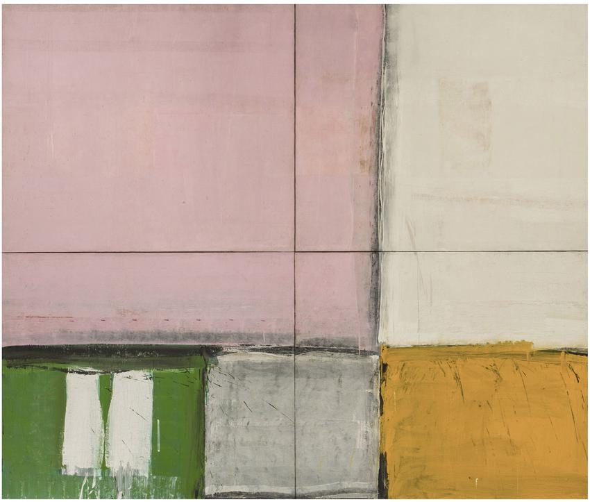 ALFRED LESLIE<br /><br /><i>Pink Square</i><br />1957-60<br />oil on canvas, in four parts<br />132 x 156 inches<br />  (335.3 x 396.2 cm)<br /><br />Courtesy the artist<br />