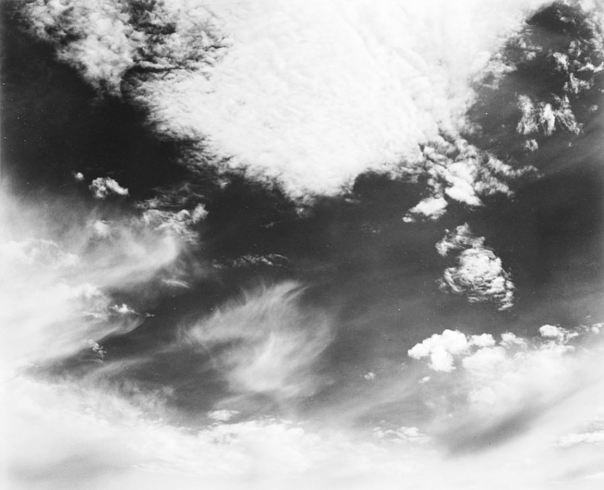 EDWARD WESTON<br />	Clouds, Santa Monica<br />	1936<br />	early silver print						<br />	7-5/8 x 9-3/8 inches (19.37 x 23.81 cm)<br />