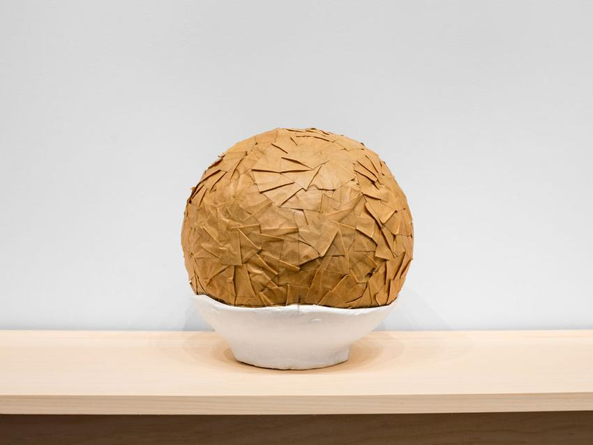 Circumstantial Balls<br />2003-2015<br />balled masking tape with acrylic paint, graphite, and colored pencil on plaster and cheese cloth base in 11 parts, wooden White Pine shelf<br />overall: 24 x 144 x 12 1/2 inches<br />(61 x 365.8 x 31.8 cm)<br />PF3959<br />(detail)<br />